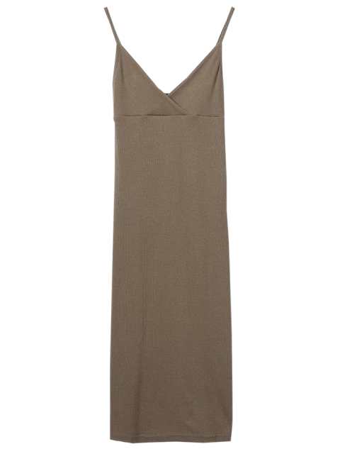 best Cami Plunging Neck Surplice Bodycon Dress - OLIVE BROWN M Mobile