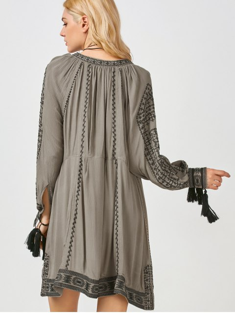 chic Embroidered Long Sleeve Shift Dress - KHAKI S Mobile