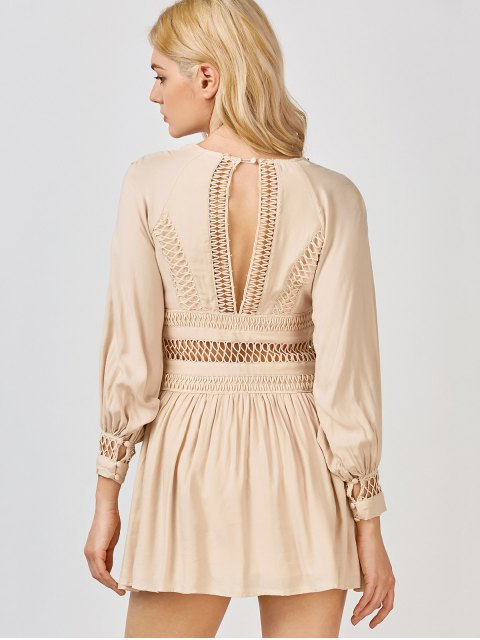 fancy Crochet Panel See Thru Flared Dress - KHAKI S Mobile