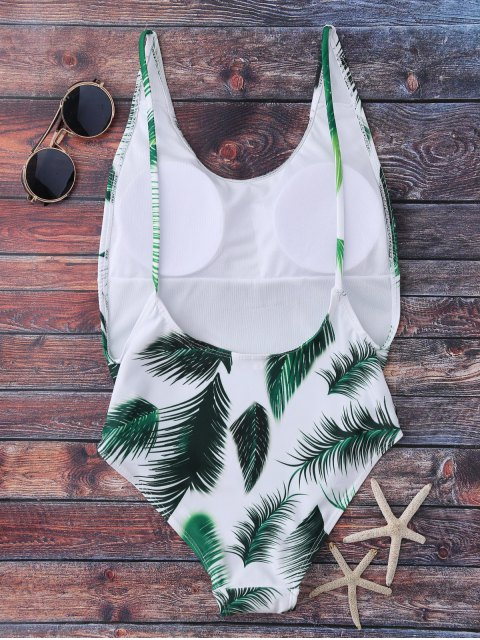 lady Crisscross Leaf Print Swimwear - WHITE M Mobile
