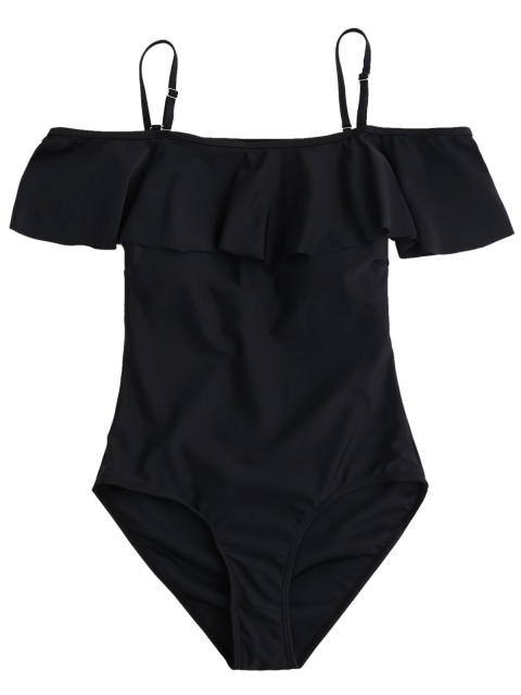 latest Off The Shoulder Flounced One-Piece Swimwear - BLACK L Mobile