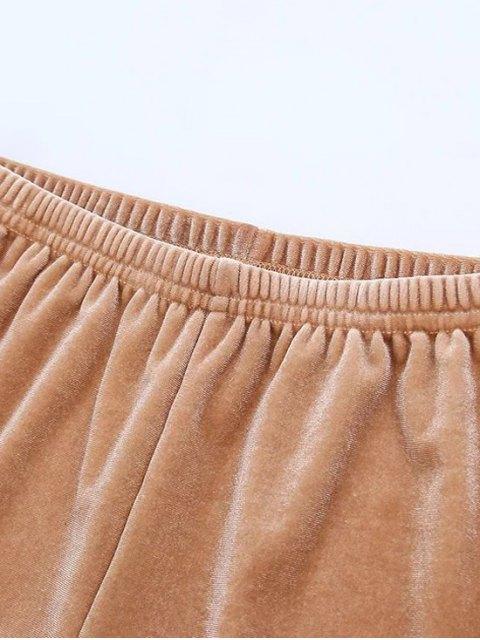 chic Sporty Velvet Shorts - BURGUNDY S Mobile