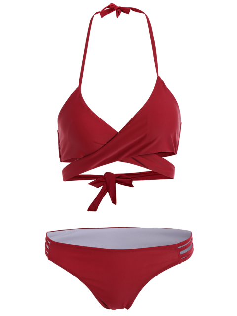ladies Strappy Halter Wrap Bikini Set - WINE RED XL Mobile