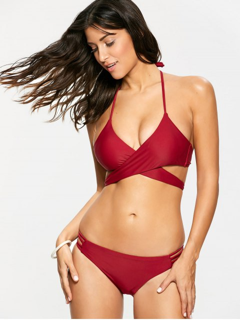 best Strappy Halter Wrap Bikini Set - WINE RED M Mobile