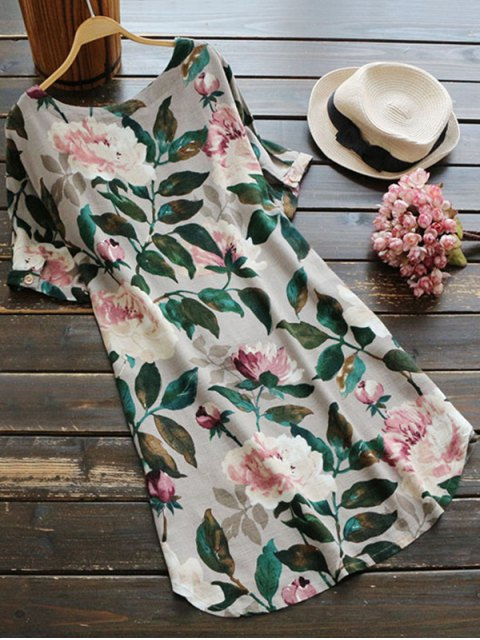 sale Casual Floral A-Line Dress - GREEN M Mobile