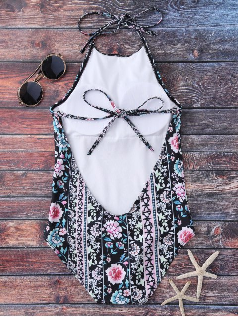 women High Neck Tiny Floral Swimwear - FLORAL S Mobile