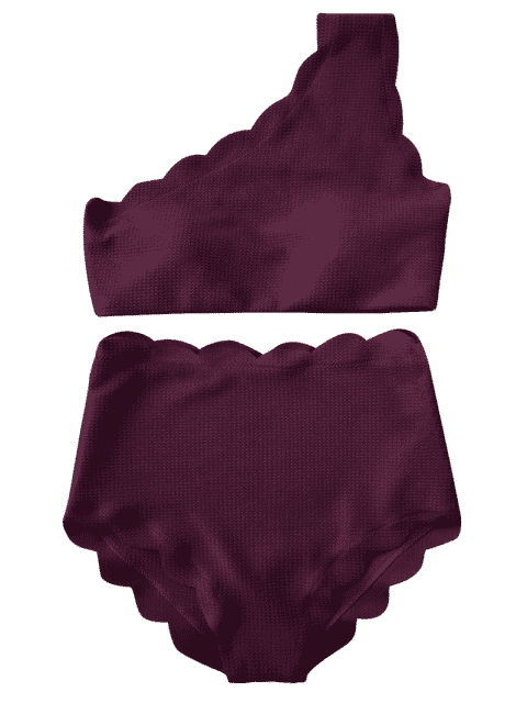 ladies High Waisted Scalloped One Shoulder Bikini - MERLOT M Mobile