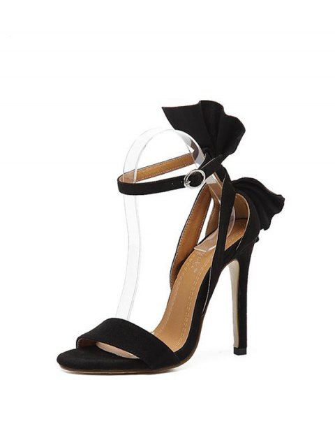 fashion Ankle Strap Mini Heel Flower Sandals - BLACK 39 Mobile