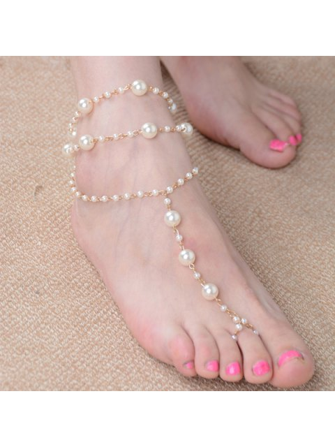 affordable Artificial Pearl Beaded Anklet - GOLDEN  Mobile