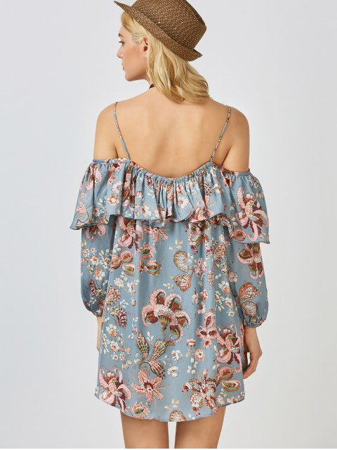 ladies Frilly Printed Cold Shoulder Blouse - STONE BLUE S Mobile