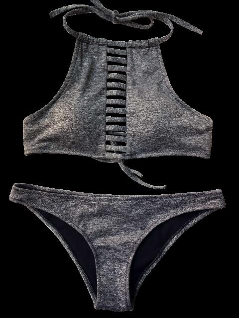outfit Heathered Lace Up Bikini Set - GRAY S Mobile