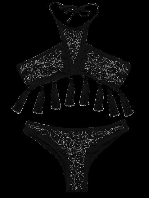 Ensemble de bikini halter avec frange perlé - Noir S Mobile
