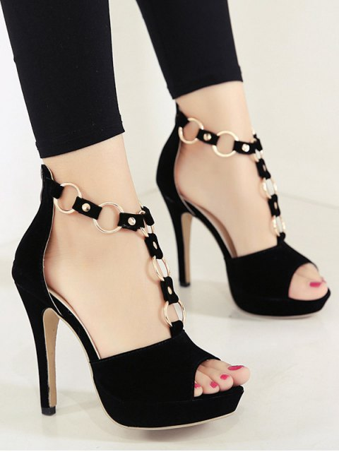 unique Metal Rings Peep Toe Zipper Sandals - BLACK 37 Mobile