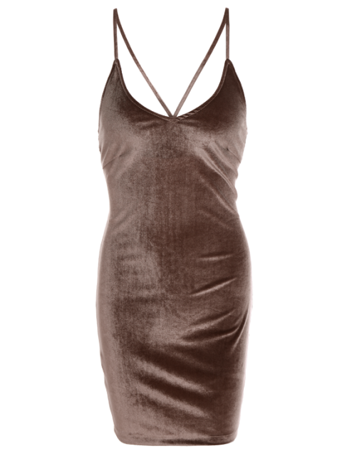 fancy Velvet Cross Back Bodycon Mini Dress - COFFEE S Mobile