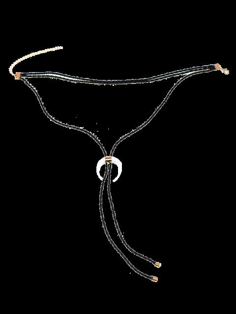 women's Moon Bolo Tie Choker Necklace - BLACK  Mobile