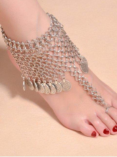 Bracelet de cheville en alliage frangée de chaînes - Argent  Mobile