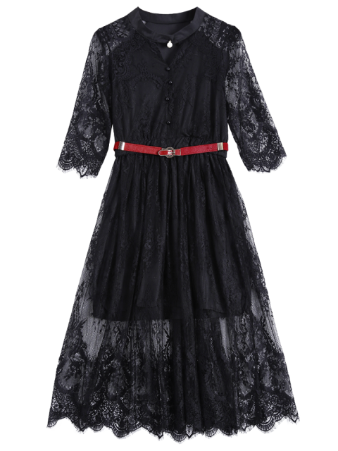 outfits Buttoned Lace Dress With Belt - BLACK XL Mobile