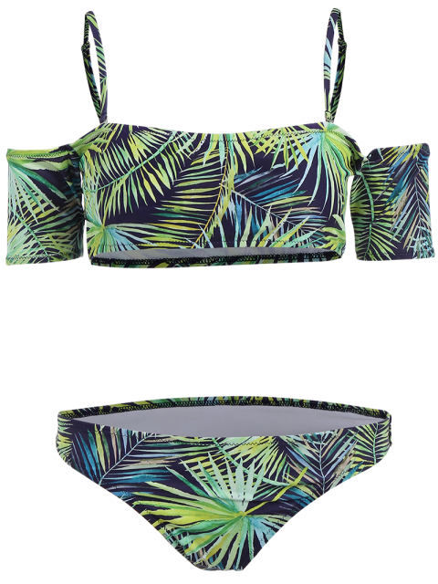 hot Palm Print Crop Bikini Top and Bottoms - BLUE AND GREEN M Mobile