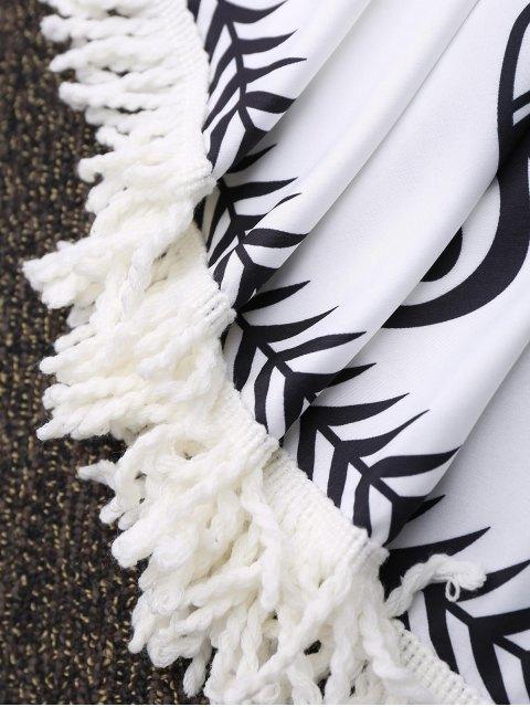 serviette de plage ronde frang e motifs de plantes blanc accessoires de plage taille moyenne. Black Bedroom Furniture Sets. Home Design Ideas
