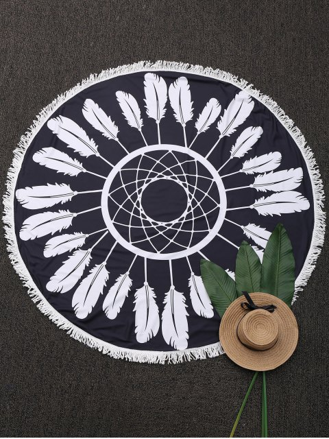 women Round Plant Beach Throw With Tassels - BLACK ONE SIZE Mobile