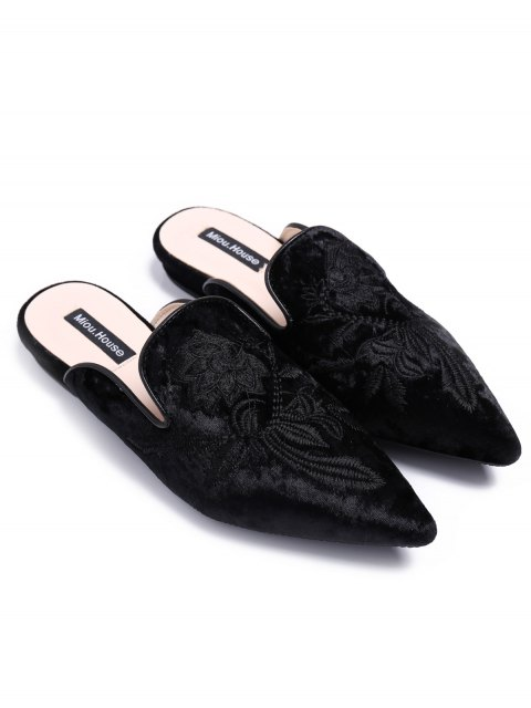 best Pointed Toe Embroidered Velvet Flat Shoes - BLACK 38 Mobile