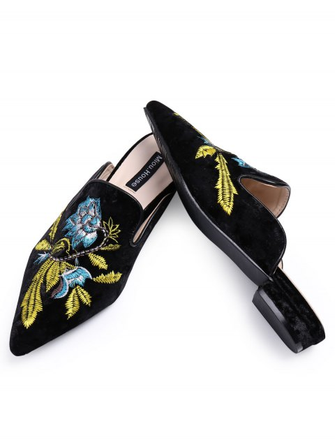 chic Pointed Toe Embroidered Velvet Flat Shoes - BLUE 40 Mobile