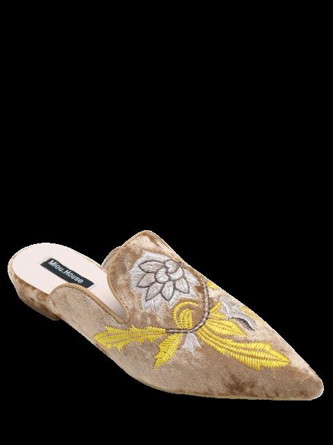 Chaussures plates pointus en velours à broderie - Brun 38 Mobile