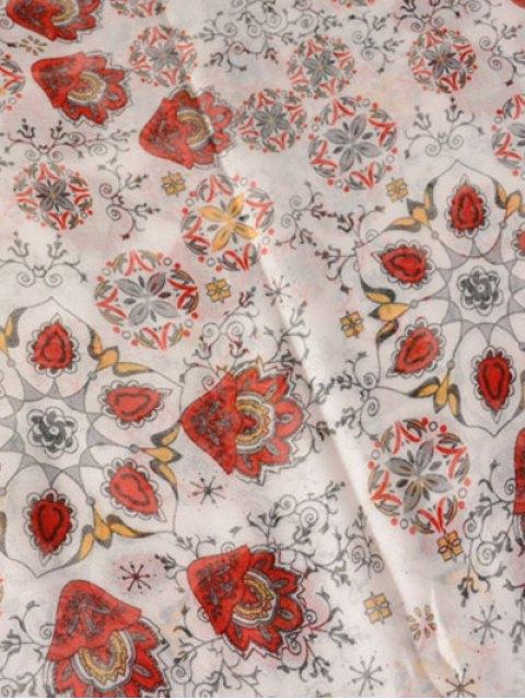 fancy Flower Porcelain Printed Tassel Scarf - RED  Mobile