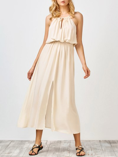 White Slit Sleeveless Maxi Dress - White
