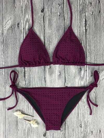 Rope Tie Side Square Plunge Bikini Set - Rose Madder