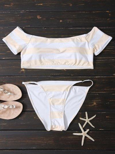 Off Shoulder Striped Bikini - Pink And White