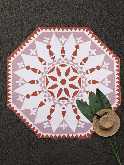 Polygon Convertible Patterned Beach Throw - Brick-red
