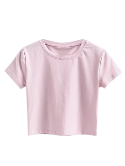 Short Sleeve Mock Neck Cropped Tee - Shallow Pink