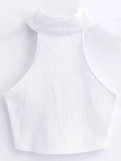 Cropped High Neck Ribbed Top - White