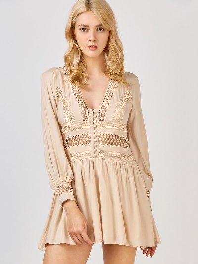 Crochet Panel See Thru Flared Dress - Khaki