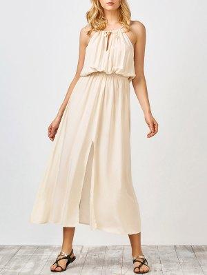 White Slit Sleeveless Maxi Dress - White