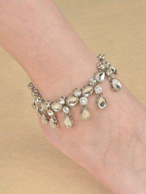 Teardrop Rhinestone Alloy Anklet - Silver