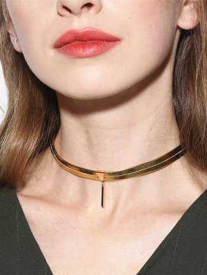 Artificial Leather Bar Choker Necklace - Golden