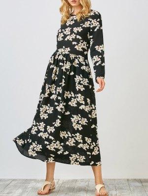 Floral Print Smock Midi Dress - Black