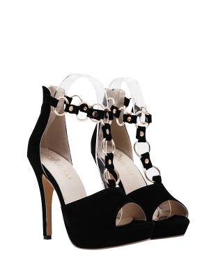 Metal Rings Peep Toe Zipper Sandals - Black