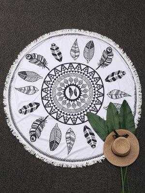 Planta Redonda Con Flecos Playa Throw - Blanco