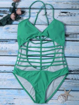 Cross Back One Piece Cutout Bathing Suit - Green