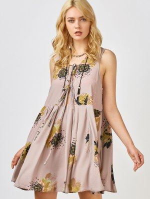 Printed Tie Up Plunge Sundress - Pale Pinkish Grey