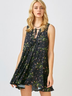 Mini Floral Chiffon Sun Dress - Black