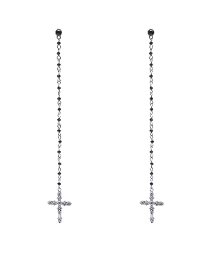 Rhinestone Crucifix Drop Earrings - Silver