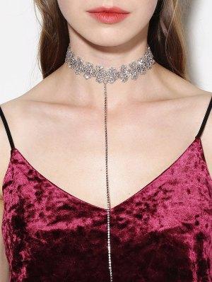 Rhinestone Lariat Choker Necklace - Silver