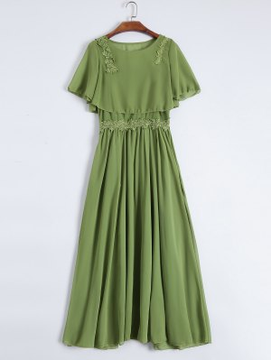 Maxi Cami Dress With Cropped Blouse - Green