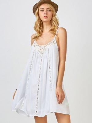 Adjustable Straps Trapeze Slip Dress - White