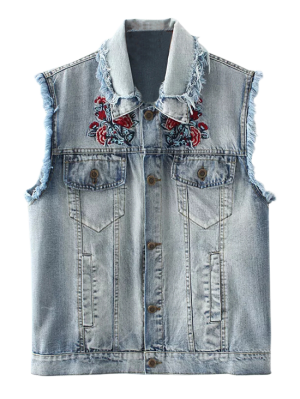 Embroidered Frayed Denim Waistcoat