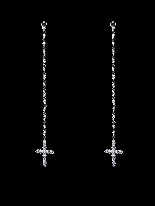 Rhinestone Crucifix Drop Earrings